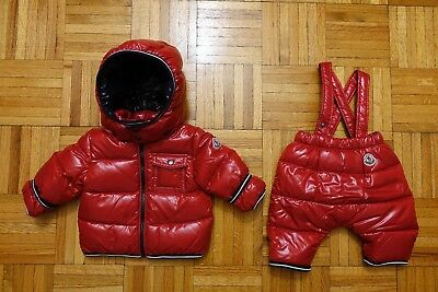 22c3e3f69ede MONCLER BABY BOY S Red Down Jacket Coat Puffer Snowsuit Size 3-6 ...