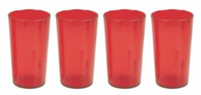 32 OZ RED 4PK Restaurant Break Resistant Drinking Glass Cups PLASTIC TUMBLERS