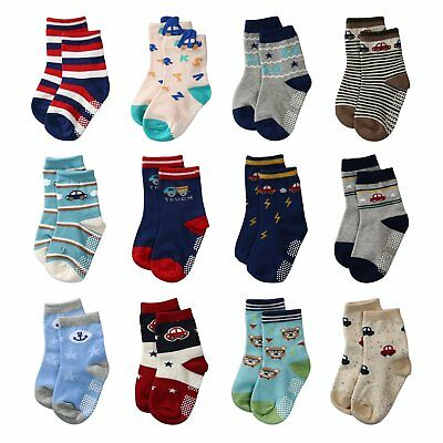 La Volupte Baby Boy's Ankle Cotton Socks Toddler Non Skid with Grip 12 Pairs