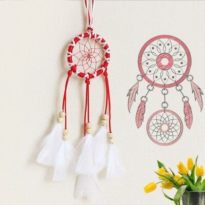 Red Dream Catcher Handmade Feathers Wall Car Hanging Decor Beads Ornament
