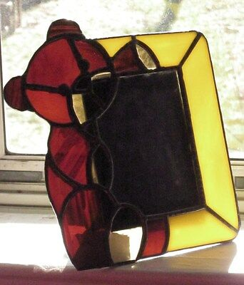 HAND CRAFTED STUDIO ART Heavy STAINED GLASS PHOTO DESK or WALL FRAME BEAR Design