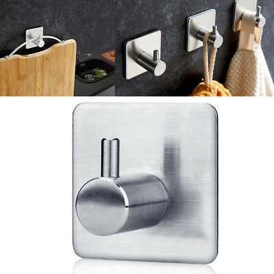 Bathroom Kitchen Stainless Steel Wall Door Sticky Self-Adhesive Hook Hanger NKP0