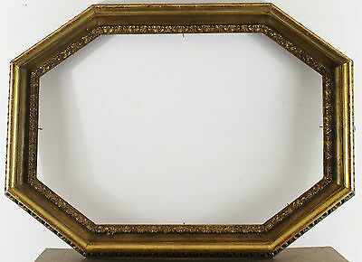 Decorated Wood Frame Octonal Gold Inside Dimension approx. 33 7/8X23in