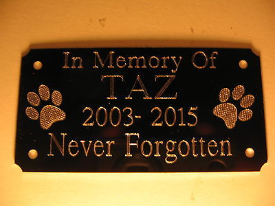 Dog Paw Pet Engraved Bench Memorial Plaque Plate Sign 85x45mm