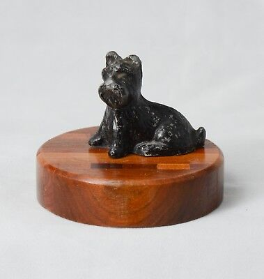 Vintage Black Cast Iron Scottish Terrier Dog on Inlaid Wood Base Paperweight