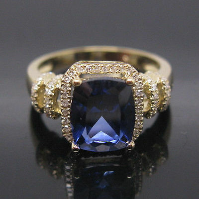 14KT Yellow Gold 1.60 Carat Natural Blue Tanzanite EGL Certified Diamond Ring