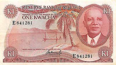 Malawi 1 Kwacha ND. 1973  P 10a Prefix E circulated Banknote  G. M3