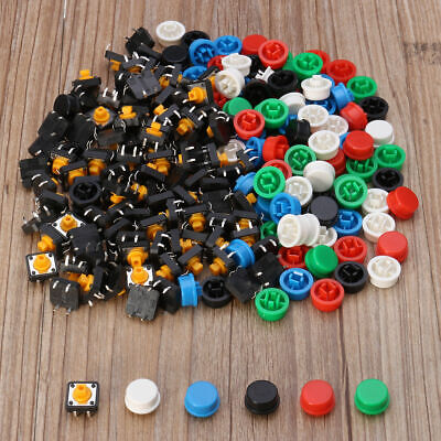 1 Set 100pcs Tactile Switch Tact Push Button Momentary 5 Color Round Cap 12x12mm
