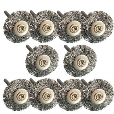 10 X Stainless Steel Wire Wheel Brushes Rotary Tools for Rotary Accessories 25mm