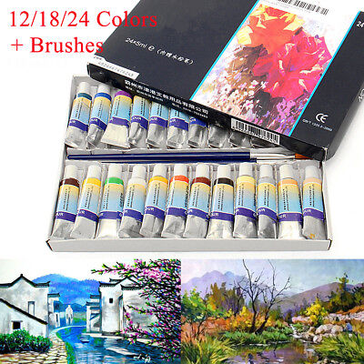 12/18/24 Colors 5ml Artist Paint Watercolor Draw Painting Box Pen Tube + Brushes