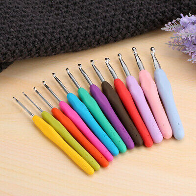 12pcs Crochet Hook Set Soft Grip Handles Knitting Needles Multi Color Aluminum