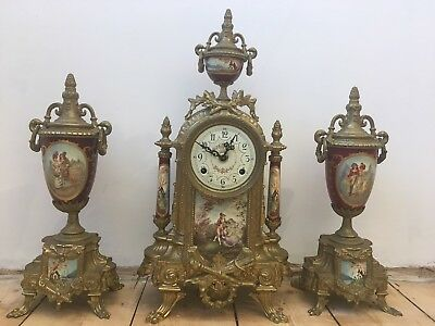 Antique 19th Century Sevres Porcelain Mantle Gilt Metal Clock Set Signed