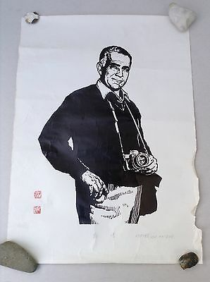 Oil-based Woodblock Print On Paper of Journalist Edgar Snow By Deng Bangzhen