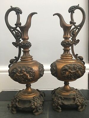 Pair Of Antique Bronze? Brass? 19th Century French Ewers