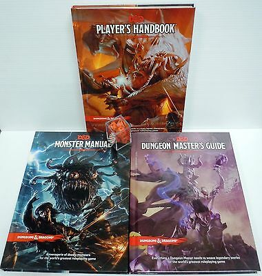 Dungeons&Dragons Next 5th Ed All 3 Core books w/set of dice Players DM's MM