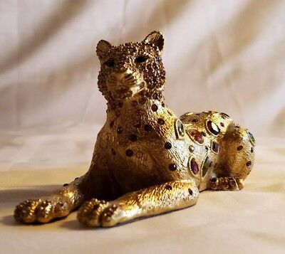 """JAY STRONGWATER Leopard 18K Gold Finish Multi Colored Swarovski Crystals 6"""" Long"""
