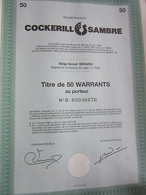Action Bon Titre WARRANTS Belgique COCKERILL SAMBRE 1989 titre 50 warrants