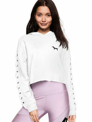 0b4641d0512 VICTORIA'S SECRET Pink Cropped Pullover Lace Up Raw Edge Hoodie Small White  NWT