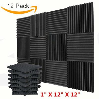 "12 Pack - Acoustic Panels Studio Soundproofing Foam Wedge Wall Tiles 12""x12""x1"""