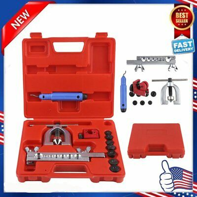 Double Flaring Brake Line Tool Kit Tubing Car Truck Tool with Mini Pipe Cutter Y