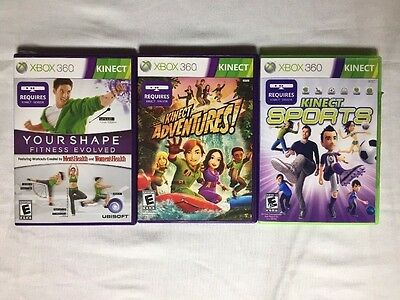 Xbox 360 Kinect Lot of 3 Games SPORTS, ADVENTURES, YOUR SHAPE *MINT DISKS*