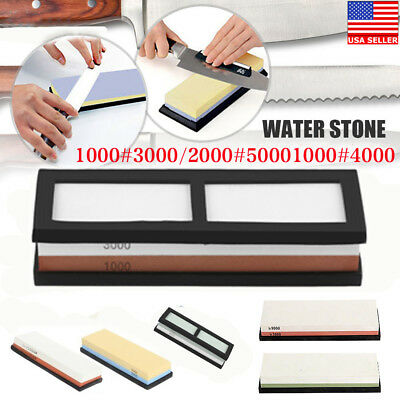 Japanese Whetstone Knife Grit 1000#-8000# Sharpening Water Stone Stand OY