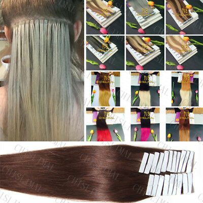 7A Seamless 20pcs PU Skin Weft Tape in Remy Human Hair Extensions 16-26inch