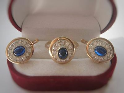 Amazing Sapphire Vintage EARRINGS RING Silver 925 Soviet USSR Antique