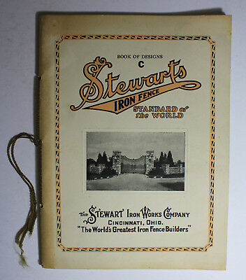 Antique STEWART IRON WORKS Victorian Cast Iron Fence Gate Architectural Catalog