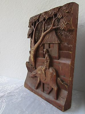 """6.8 lbs antique wooden 16x11"""" Ox bullock bootes hand carved panel carving plaque"""