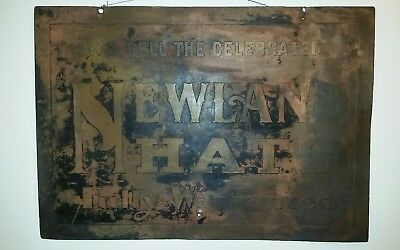 Newland Hats copper acid etched sign, Rare advertising