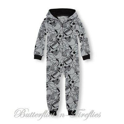 New NWT The Children's Place Fleece Hooded One-Piece Sleeper Pajama Boys M 7 - 8