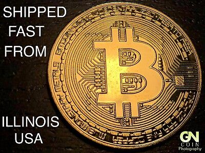 FAST USA SHIPPING - BITCOIN Commemorative Physical Coin GOLD COLOR!  CRYPTO GIFT