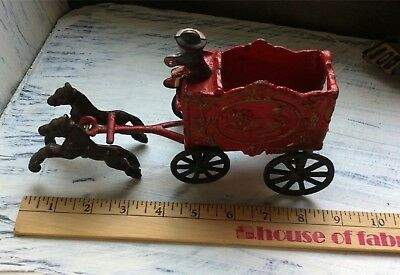 Repo/Maybe ? Vintage Toy Cast Iron Circus Cage/ Cart with Driver & 2 Horses