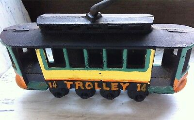 Reproduction?/Maybe of Vintage Cast Iron Toy Painted Trolly Car No. 14