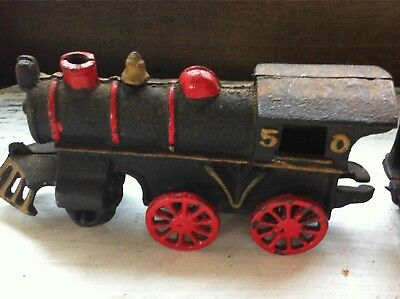 Repo/Maybe Toy Vintage Style Cast Iron Train Engine and Coal Car #50~No Brand
