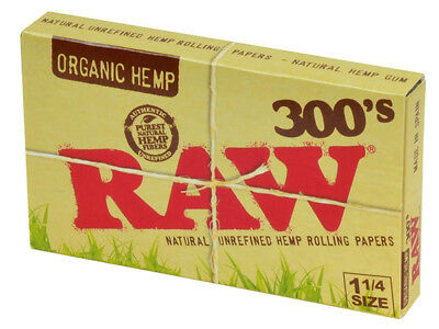 2x Pack ( RAW Organic Hemp 300s 300 300's 1.25 1 1/4 ) Rolling Paper Papers