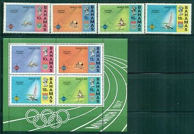 BAHAMAS 335-38a SG382-85,MS386 MH 1972 Olympic Games Munich set of 4+MS Cat$9