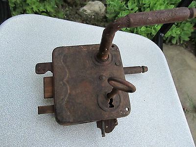 Antique Rare Primitive Lock Door Handles Forged In Working Condition With Key