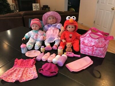 Pretend Play Baby Doll Lot Feeding Supplies Clothes Diaper Bag Lot of 3 Babies