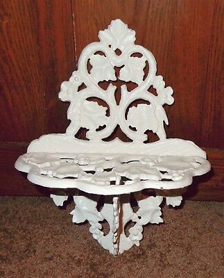 Vintage Cast Iron Metal Wall Shelf Cottage Garden Flower Leaves Shabby Chic Wall