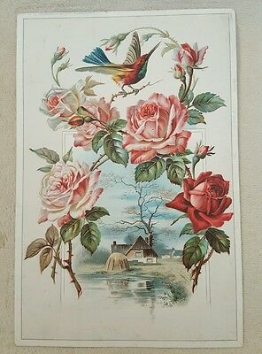 Antique Vintage Victorian Large Card Hummingbird Roses Collectible framing