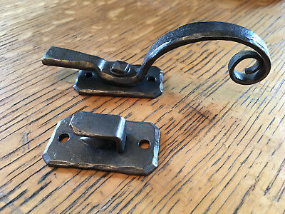 pair of Vintage forged cast iron cabinet latch & hook