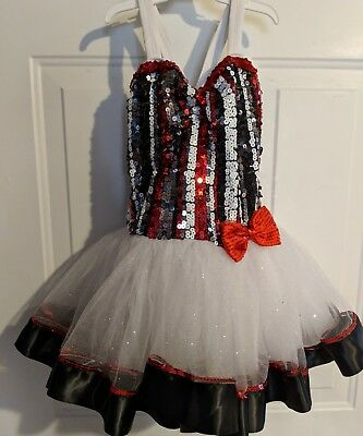 Dance Costume Weissman Tap Jazz  Solo Competition Pageant M Red Black White