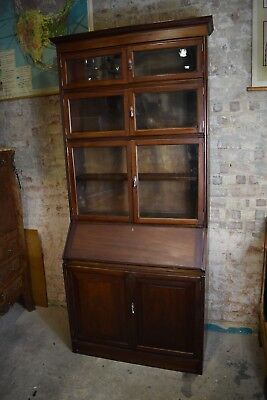 Antique Oak Stacking Bookcase Tall Early 20th Century Tier on Tier Writing Desk