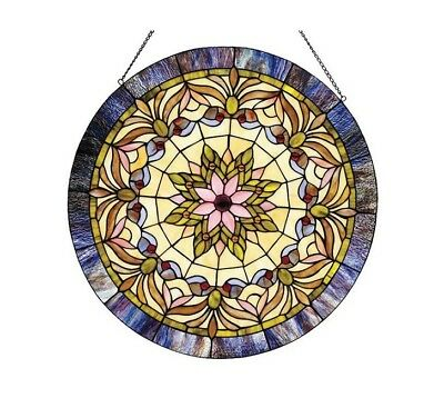 """Stained Glass Window Panel Sun Catcher Victorian Tiffany Style 22"""" Round Star"""