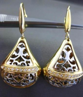 Estate Large .20Ct Diamond 14Kt Two Tone Gold 3D Fleur De Lis Filigree Earrings