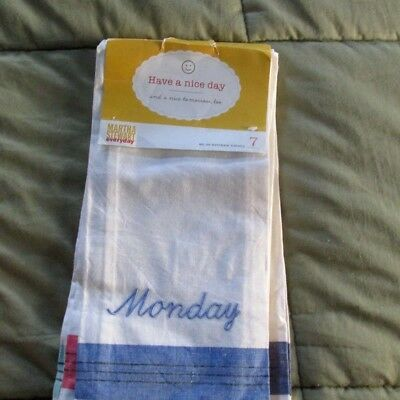 MARTHA STEWART DAYS of the Week Kitchen Towels Vintage ...