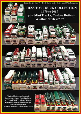 HESS TOY TRUCK COLLECTION - 1970 to 2017 + MINI TRUCKS + BUTTONS & EXTRAS!!!