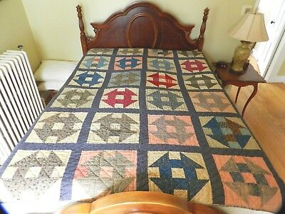 """Antique """"Monkey Wrench"""" quilt handmade circa early 1900's."""